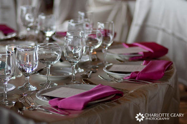 Pink and ivory table settings