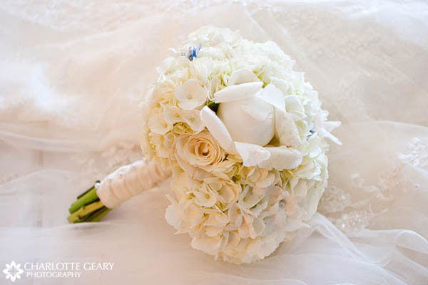 White wedding bouquet with roses, po