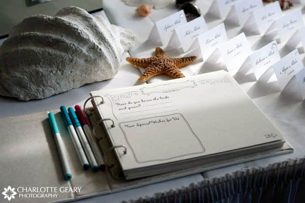 Wedding guest book displayed with seashells for a beach wedding