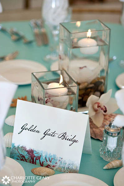 Table numbers for a San Francisco beach wedding