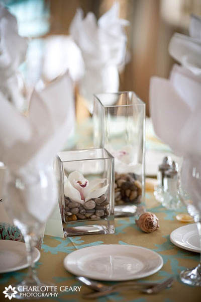 Square vases in wedding centerpieces