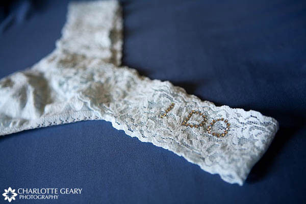 "Blue bridal undergarment with ""I Do"""