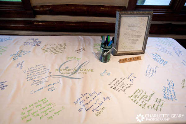 Table cloth used as a wedding guestbook