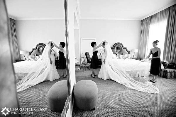 Bride getting ready in the Hotel Monaco in Denver