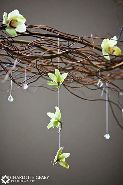 Hanging green orchids at wedding ceremony