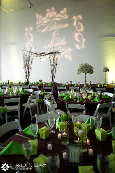 Apple green and chocolate brown wedding reception