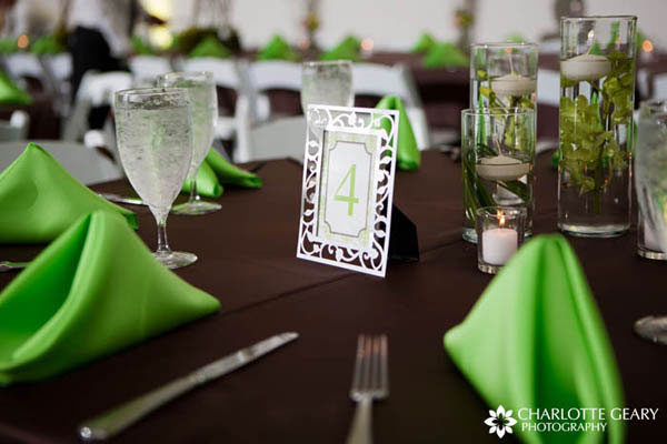 Wedding reception table number displayed in a silver frame