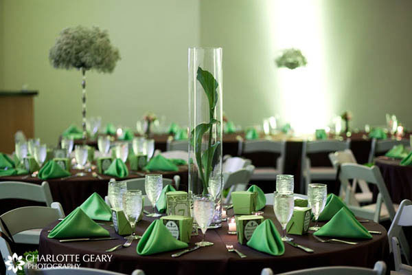 Green and brown wedding table settings
