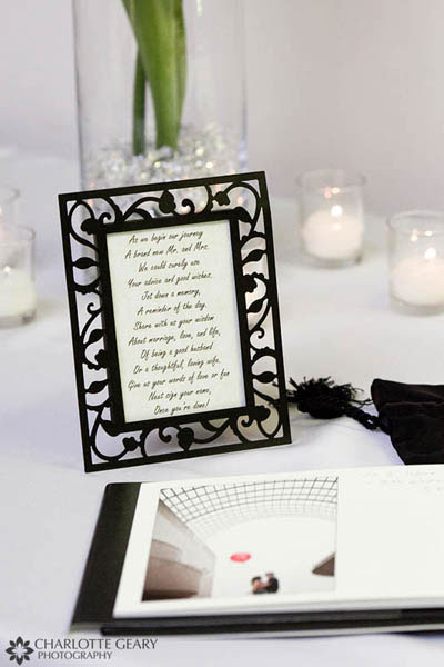 Guestbook sign in a black frame