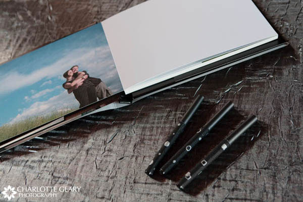 Silver and black pens for the wedding guest book