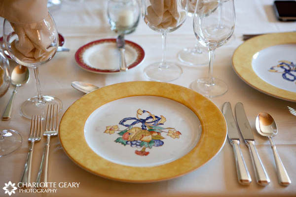 Yellow dishes at wedding reception
