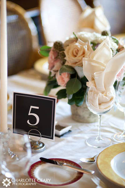 Black table number sign