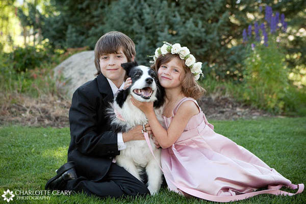 Ring bearer and flower girl with the dog ring bearer