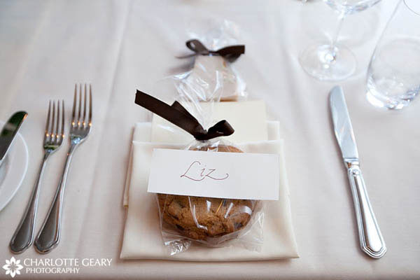 Cookie wedding favor served at each place setting