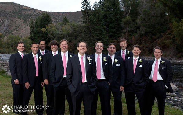 Groomsmen in pink ties