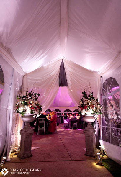 Entrance to wedding reception tent