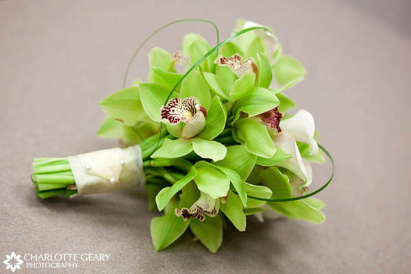 Bouquet of green orchids