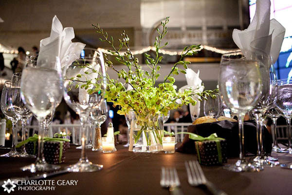 Green orchid centerpiece