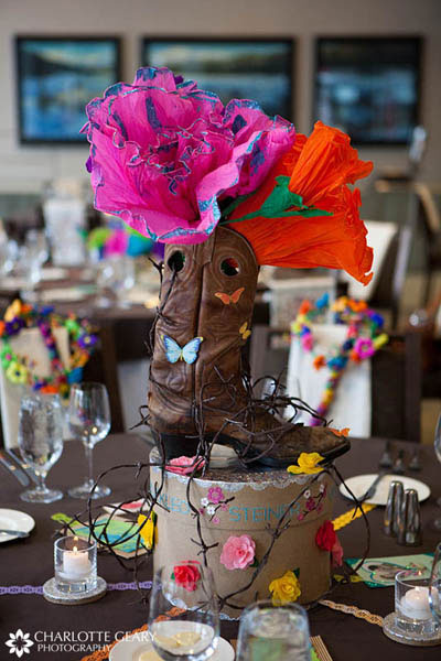 Cowboy boot centerpiece for a Texas-themed reception