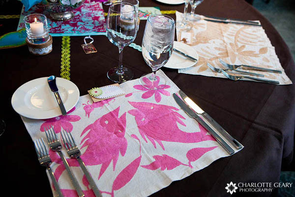 Place settings with colorful placemats