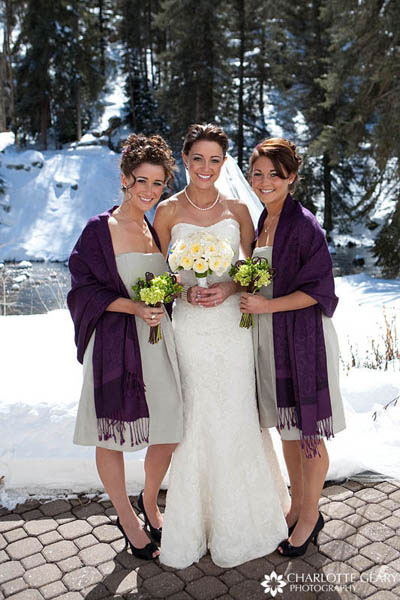 Bridesmaids with sage green dresses and purple pashminas