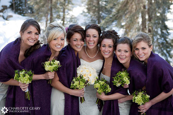 Bridesmaids in purple and green