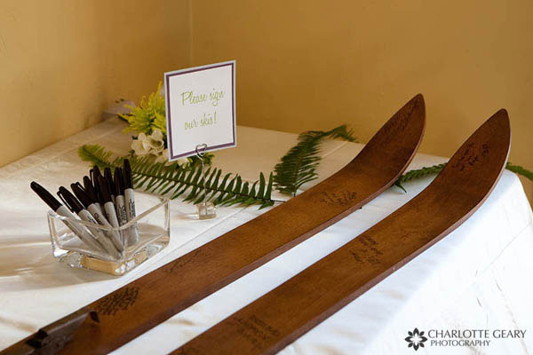 Antique skis used as a guestbook for a winter wedding