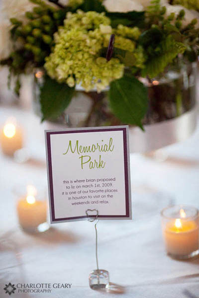 Tables named after meaningful places for the bride and groom