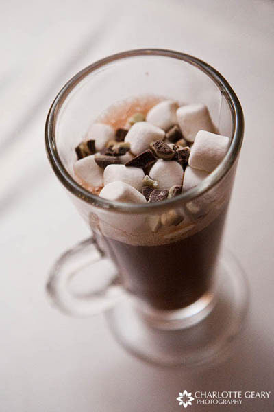 Hot chocolate served at winter wedding