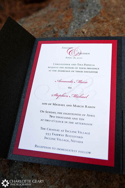Red, white, and black wedding invitation