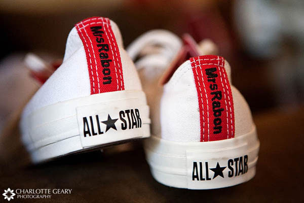 Converse sneakers embroidered with the bride