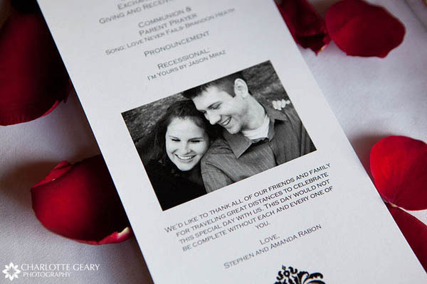 Professional engagement portrait used on the wedding program