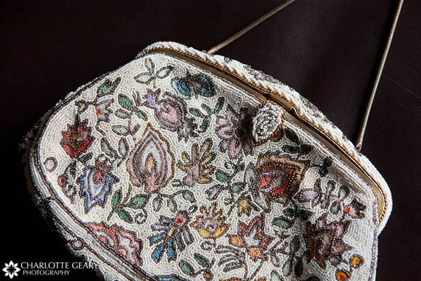 Bridal purse with floral beading