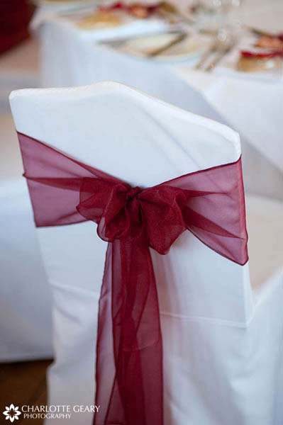 Red and white chair cover