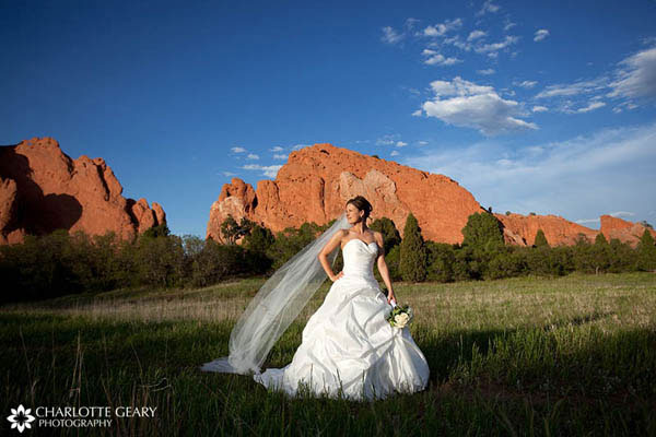 Bride with strapless satin gown and long veil