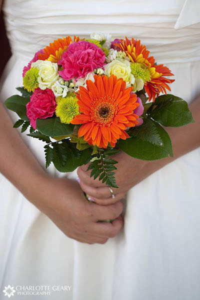 Colorful bouquet in pink, orange, and yellow