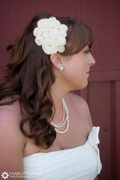 Bride with white floral hair piece