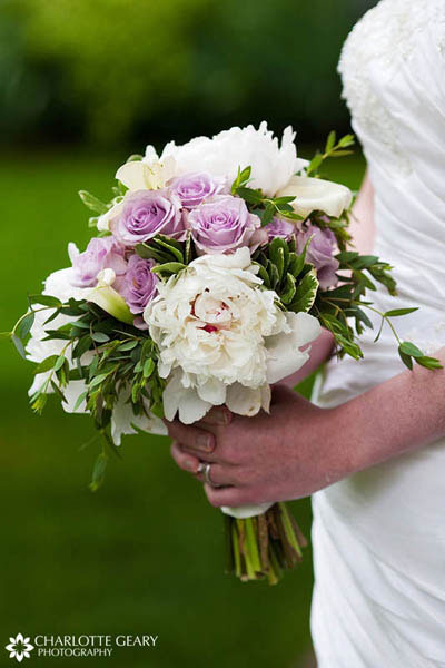 Bridal bouquet with lavender roses and white peonies