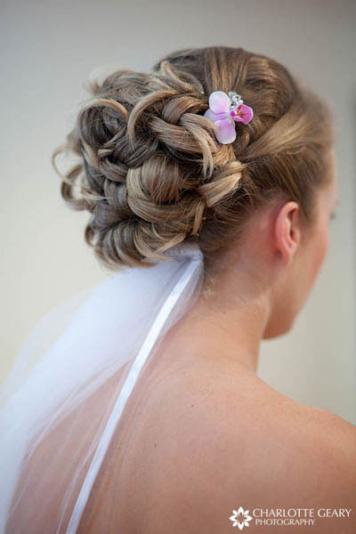Bride with up-do and veil