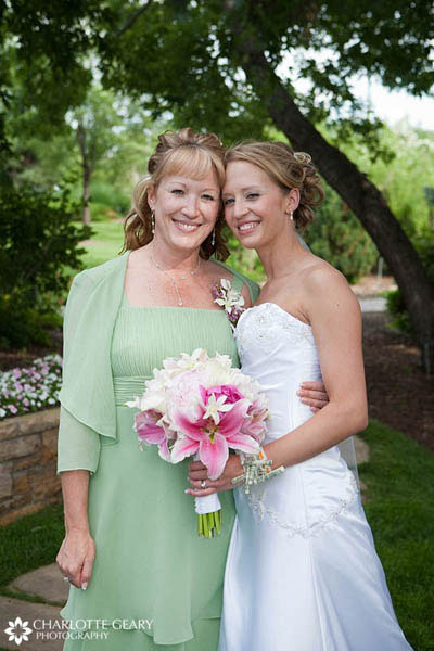 Mother of the bride in a light green dress