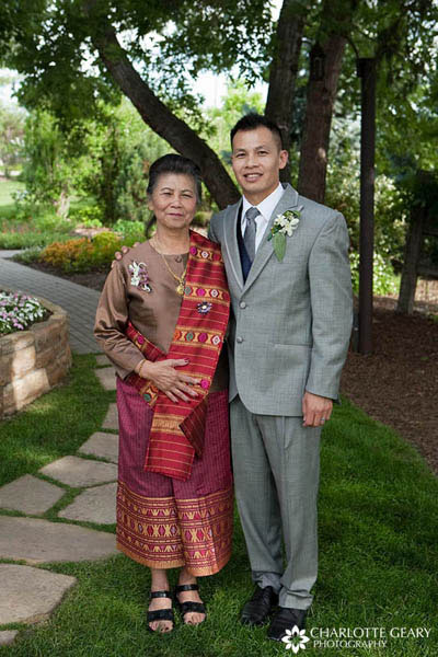 Mother of the groom in a Laotian dress