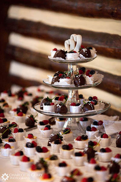 Tower of mini-cheesecakes and chocolate covered strawberries as a cake alternative