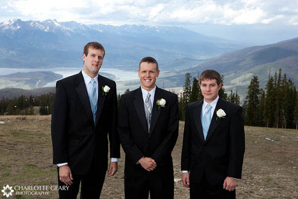 Groomsmen in light blue