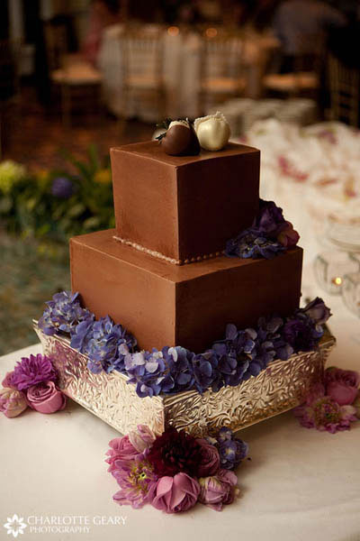 Square chocolate wedding cake