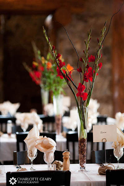 Red wedding centerpieces