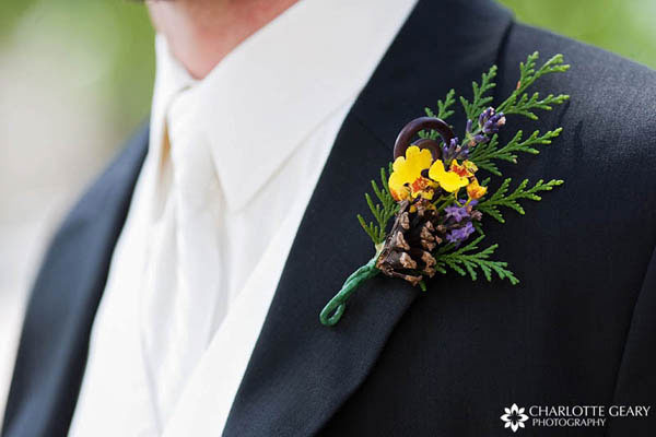 Boutonniere with pine cone
