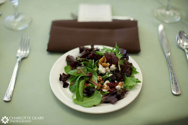 Place setting with green and brown linens