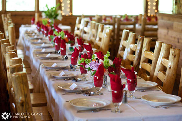 Table set with red linens