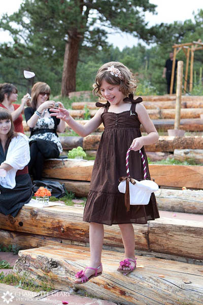 Flower girl in a brown dress