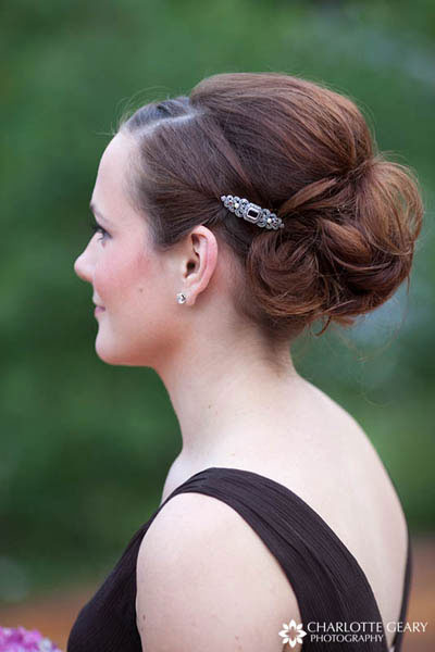 Bridesmaid with up-do and hair pin
